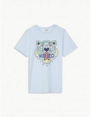 Kenzo Tiger-print cotton T-shirt 4-16 years