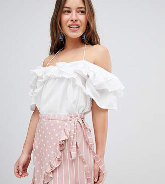 Asos DESIGN Petite off shoulder top with ruffle detail