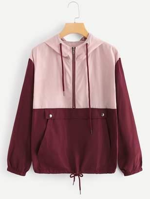 Shein Drawstring Knot Kangaroo Pocket Hooded Jacket