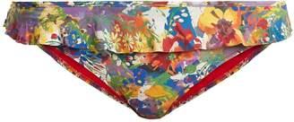 Floral-print ruffle-trimmed bikini briefs