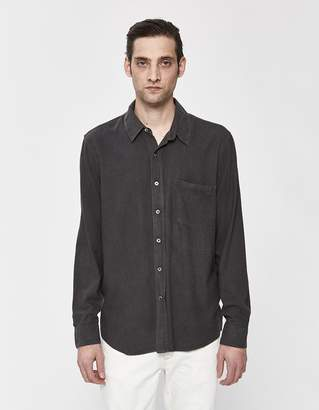 3631165bc97ef3 Our Legacy Classic Silk Noil Button-Up Shirt in Forest Black