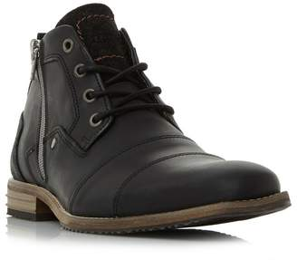 0172b2e7a0f Dune - Black 'Captains' Double Toe Cap Detail Leather Boots