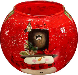 Precious Moments Ne Qwa Art Hand-Painted Glass Snowman Candle Votive Holder