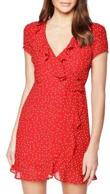 Bardot Spot Backless Faux Wrap Dress