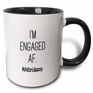3dRose IM ENGAGED AF. #SHITBRIDESSAY - Two Tone Black Mug, 11-ounce