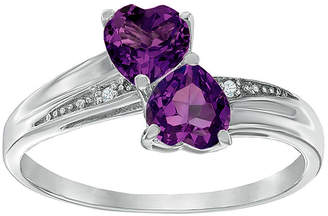 FINE JEWELRY Genuine Amethyst and Diamond-Accent Sterling Silver Double-Heart Ring