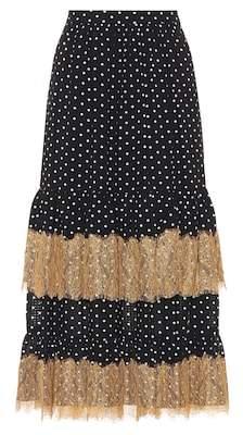 Polka-dot and lace midi skirt