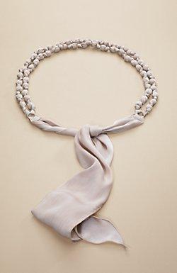 Knotted beaded sash belt