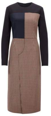 BOSS Hugo Made in Germany patchwork dress in mixed fabrics 2 Light Brown