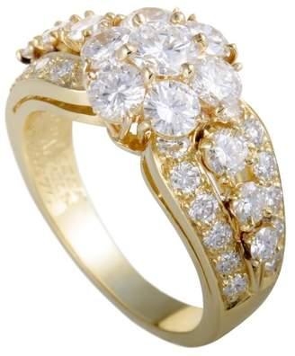 Van Cleef & Arpels Fleurette 18K Yellow Gold with 1.75ct Diamond Flower Ring Size 5