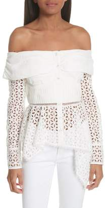 Self-Portrait Broderie Anglaise Off the Shoulder Top