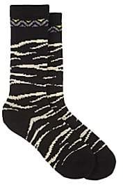 Antipast Women's Zebra-Pattern Mid-Calf Socks - Black