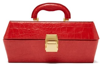STAUD Lincoln Crocodile Effect Leather Box Bag - Womens - Red