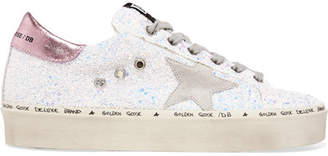 Golden Goose Hi Star Distressed Glittered Leather Sneakers - White