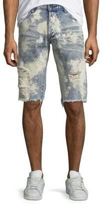 PRPS Men's Bleach Splatter Speckled Denim Shorts