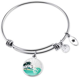 "Unwritten Chase the Sunset"" Enamel Charm Bangle Bracelet in Stainless Steel"