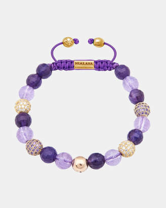 Women's Beaded Bracelet with Amethyst and Gold