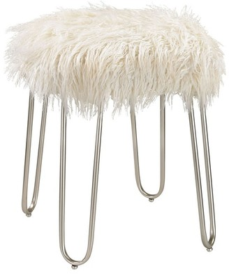 Silver Frame Stool with White Faux Fur Upholstery-ON BACKORDER UNTIL JULY 2016