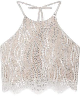 Miguelina Noel Cropped Metallic Lace Halterneck Top - Silver
