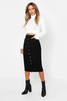 boohoo Cord Button Front Midi Skirt