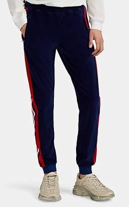 Gucci Men's Stripe-Appliquéd Velour Jogger Pants - Blue