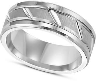 Triton Men's White Tungsten Carbide Ring, 8mm Diamond-Cut Wedding Band
