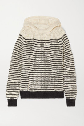 Saint Laurent Striped Knitted Hoodie - Ivory