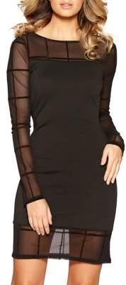 Quiz Check Mesh Bodycon Dress