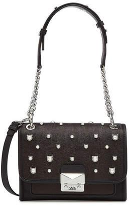 Karl Lagerfeld Cat Pearl Mini Handbag with Leather