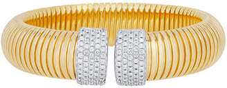 Milani Alberto Tubogas Wide 18K Gold Bracelet with Diamonds