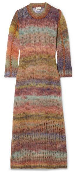 Striped Open-knit Midi Dress - Lilac