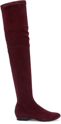 Robert Clergerie Burgundy Suede Fetel Over-the-Knee Boots $895 thestylecure.com