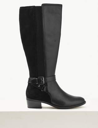 Marks and Spencer Leather Block Heel Strap Knee Boots