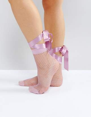 Asos Fishnet Bow Strap Ankle Socks