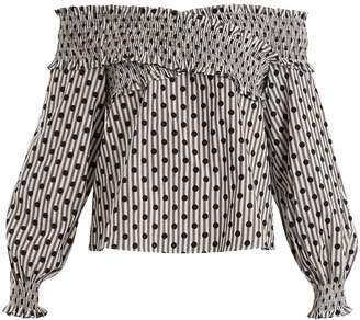 DAY Birger et Mikkelsen ANNA OCTOBER Off-the-shoulder polka-dot cotton top