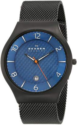 "Skagen Men's SKW6147 ""Grenen"" Black Titanium Watch with Mesh Band"