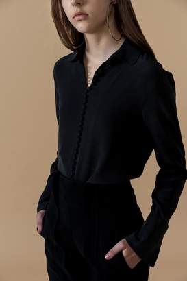 Genuine People Black Silk Button Shirt