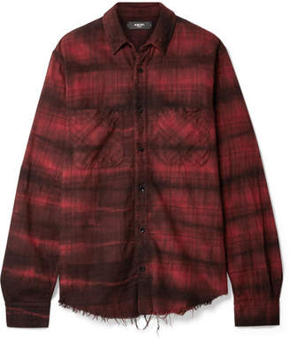 Amiri Cloud Frayed Checked Cotton-flannel Shirt - Red