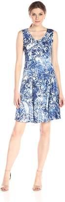 Notations Women's Printed Sleeveless Vneck Godet Dress