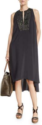 Brunello Cucinelli Sleeveless Pailletteed-Bib High-Low Dress