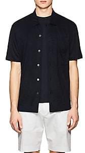 Theory Men's Slub Linen Jersey Shirt-Navy