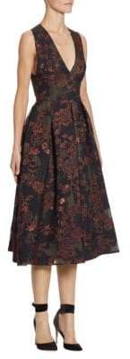 Monique Lhuillier Jacquard Midi Dress
