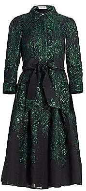 Teri Jon by Rickie Freeman Women's Point Collar Metallic Jacquard Cocktail Dress