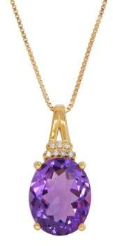 Lord & Taylor Andin Amethyst and 0.021 TCW Diamond 14K Yellow Gold Pendant Necklace
