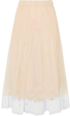 Simone Rocha Lace-trimmed Pleated Tulle Midi Skirt - Beige