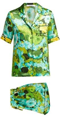 Richard Quinn - Lime Floral Print Silk Satin Pyjama Set - Womens - Green Print