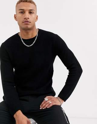 Bershka crew neck knitted sweater in black