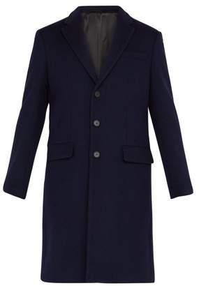Joseph London Single Breasted Wool Blend Overcoat - Mens - Navy