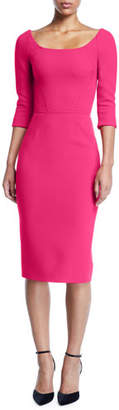 Zac Posen Bateau-Neck 3/4-Sleeve Body-Con Crepe Daytime Dress