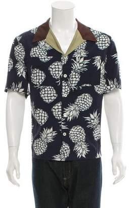 Valentino Camp-Collar Pineapple Print Shirt w/ Tags